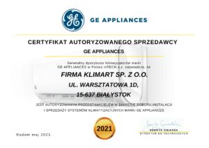 Certyfikat sprzedawcy GA Appliances