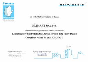 Certyfikat serwisowy DAIKIN - klimatyzatory