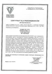 Certyfikat UDT dla Klimart