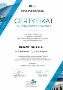 Certyfikat klimatyzacji INNOVA